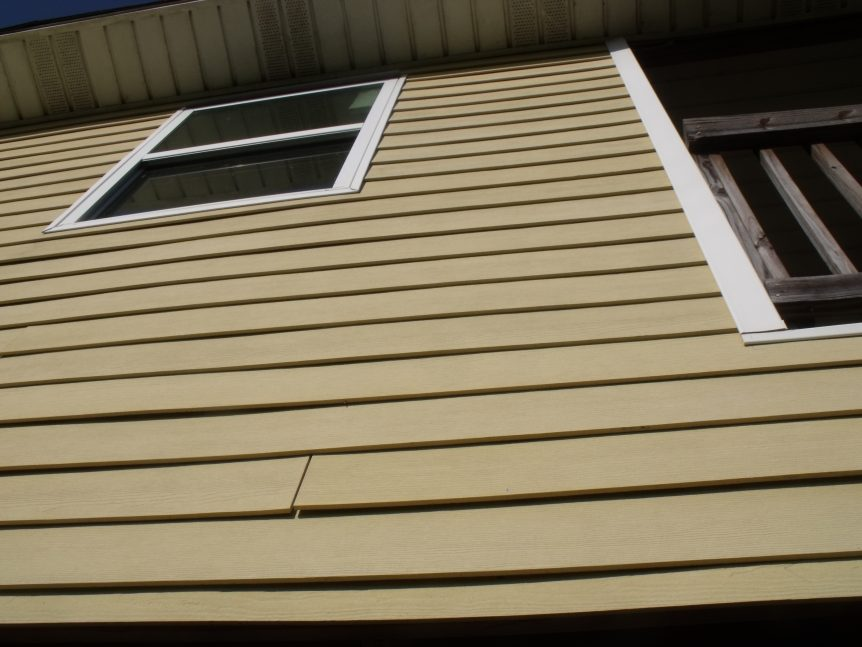 Cement board not properly applied or installed, no sheathing, or caulking, not water tight